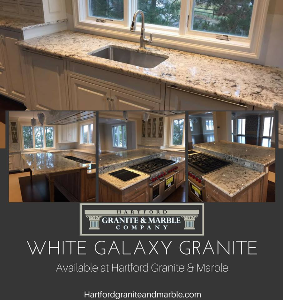 Kitchen Countertop With White Galaxy Granite - Hartford Granite & Marble